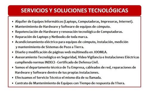 servicio de reparación y soporte técnico informático