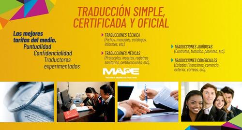 servicio de traducción certificada inglés