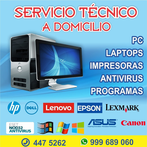 servicio tecnico a domicilio de computadora laptop impresora