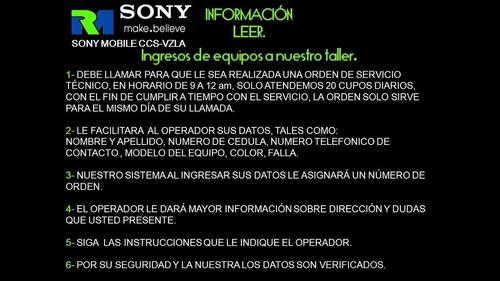 servicio tecnico certificado sony mobile caracas venez