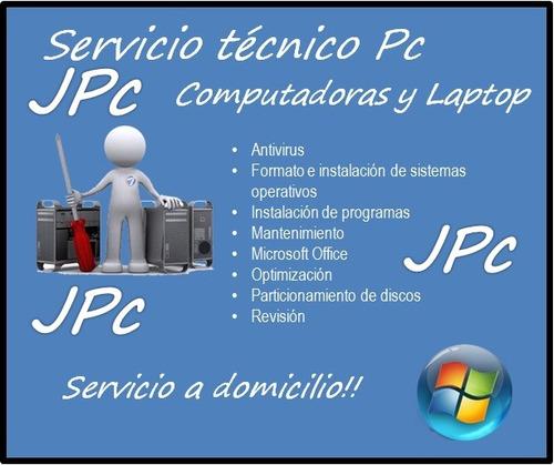 servicio técnico computadora pc,laptop,formateo domicilio