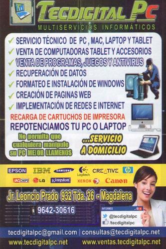servicio técnico computadoras domicilio u oficina desde 70