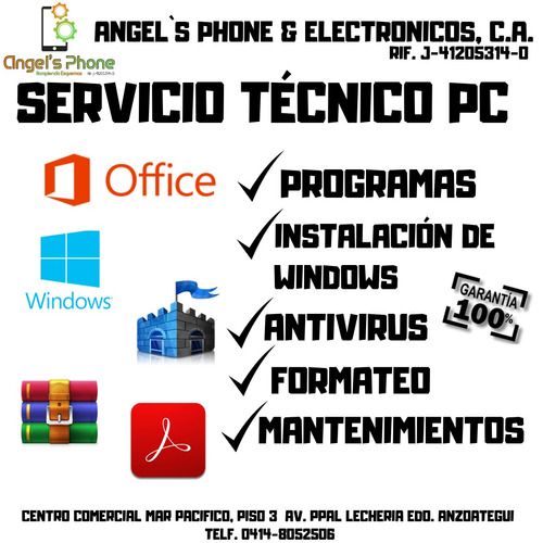 servicio tecnico computadoras pc laptop formateo windows