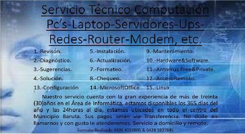 servicio técnico computadoras y redes con garantía leer pub