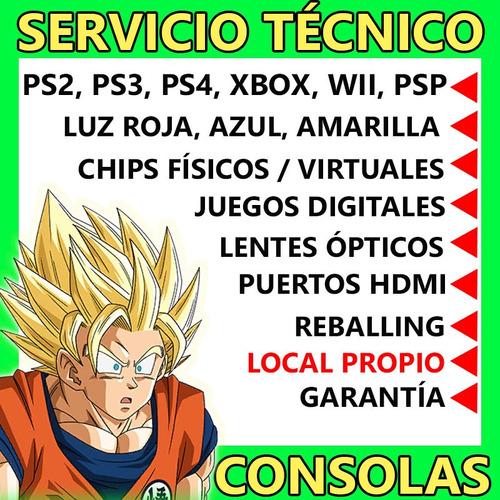 servicio técnico consolas ps2 ps3 ps4 xbox psp chips juegos