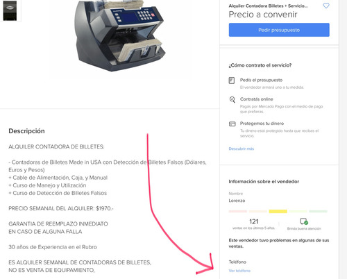 servicio tecnico contadora billetes repuestos y alquiler