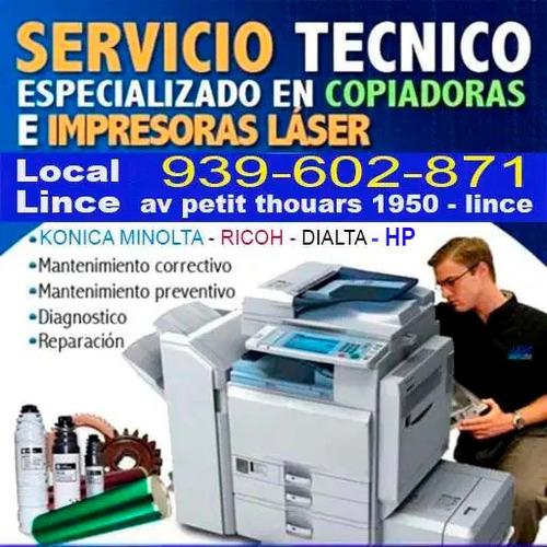 servicio técnico de  fotocopiadoras hp  , minota , ricoh
