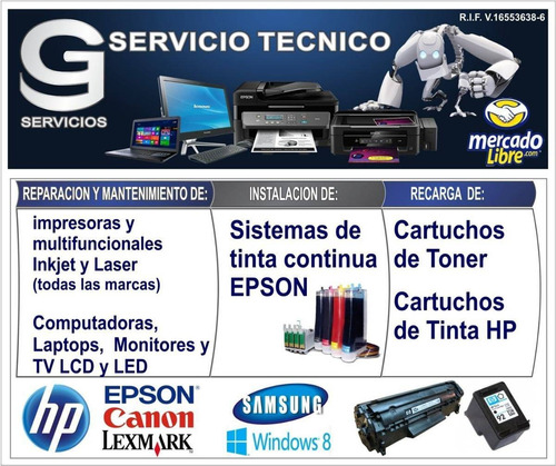 servicio tecnico de impresoras epsom y hp a domicilio.