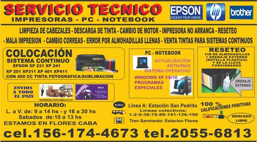 servicio técnico de impresoras epson, hp,canon  flores caba