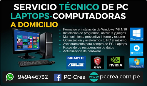 servicio técnico de pc, laptops formateo a domicilio