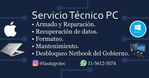 servicio tecnico de pc notebook  zona norte