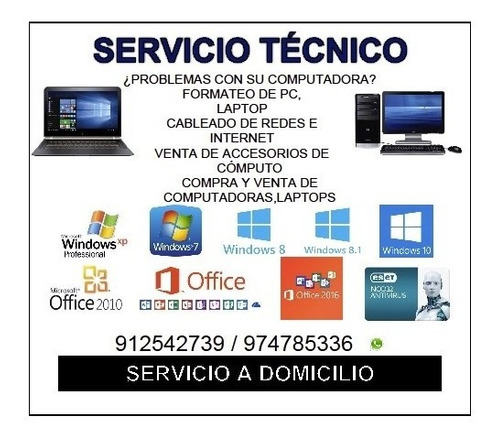 servicio técnico de pc y laptops a domicilio