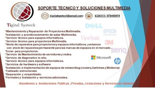 servicio técnico de proyectores multimedia - pc y laptops.