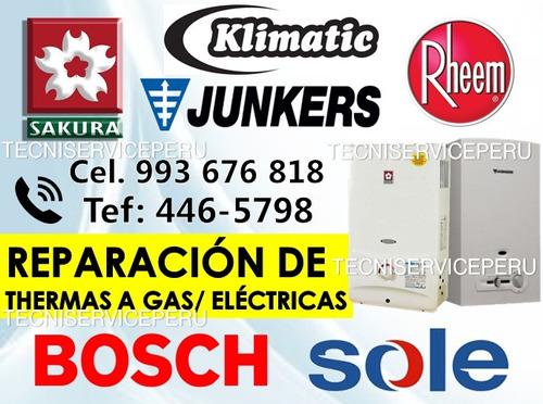 servicio tecnico de termas a gas junkers bosch rheem sole