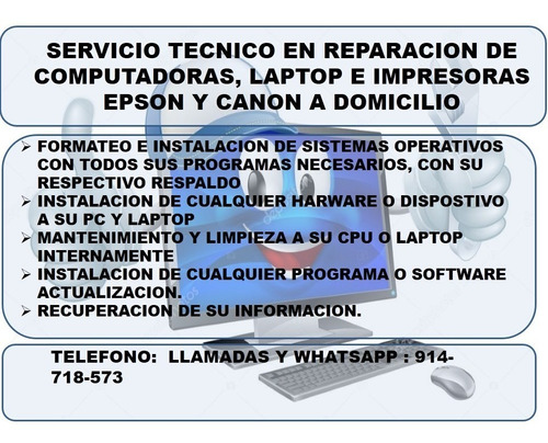 servicio tecnico en reparacion de computadoras, e impresoras