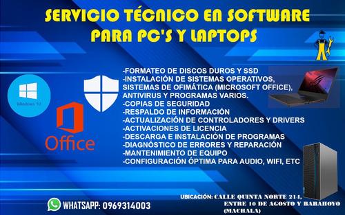 servicio técnico en software para pc's y laptops