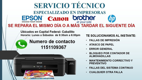 servicio técnico  epson, brother, cannon y hp/ notebooks
