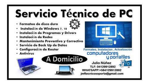 servicio tecnico especializado en pc laptop a domicilio