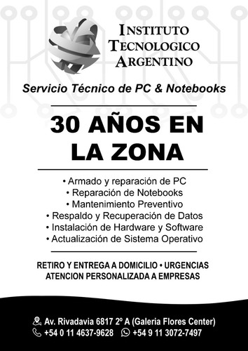 servicio tecnico especializado reparamos pc, notebooks, aio