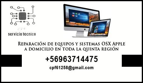 servicio técnico  macbook, imac  apple v región a domicilio