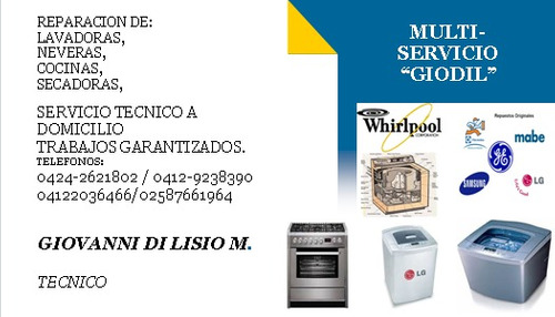 servicio técnico microondas ,lavadoras, secadora, cocinas