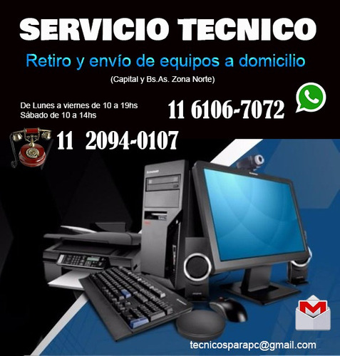 servicio técnico para pc, notebook, monitores, promo $1.450