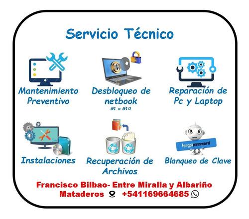 servicio técnico pc y netbook, desbloqueo, formateo y más