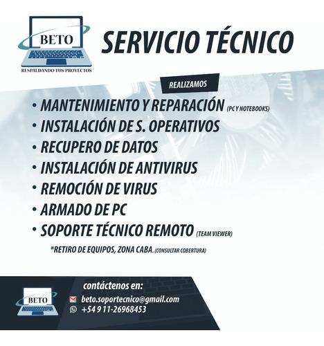servicio técnico pc y notebooks/soporte remoto.