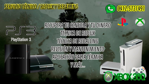 servicio técnico ps3 xbox 360 reflux reballing / pc laptops