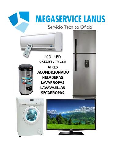servicio tecnico reparacion lcd led 3d 4k aires heladeras