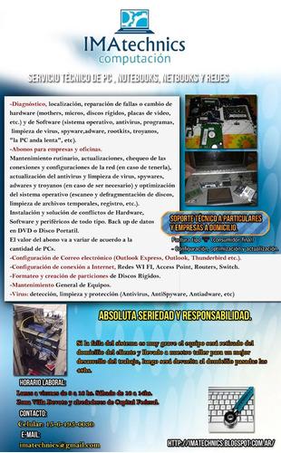 servicio técnico reparación pc a domicilio villa devoto