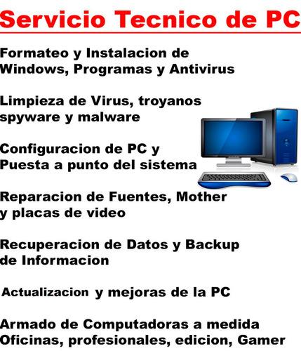 servicio técnico reparación pc y notebook