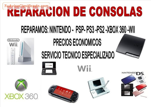 servicio tecnico/ reparacion/ ps4/ ps3/ xbox 360/ nintendo
