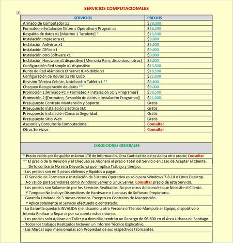 servicio tecnico, soporte & mantencion computacional
