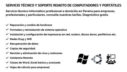 servicio técnico y soporte remoto de computadores en pereira