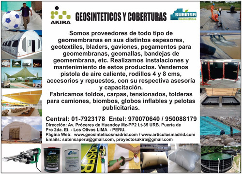 servicio thermosellado  geosinteticos  o geomenbranas  y pvc