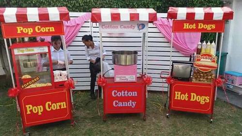 servicios carritos snacks pop corn, algodon azucar, hot dogs