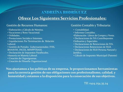 servicios de contabilidad, tributos y recursos humanos.