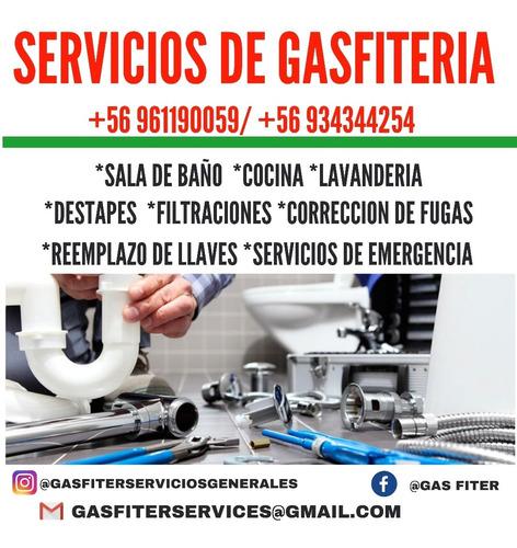 servicios de gasfiteria. garantía por trabajo.