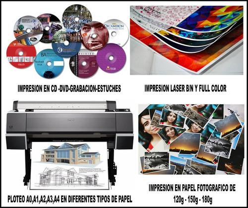 servicios de impresion en (cd-dvd,laser,fotografico,plotter)
