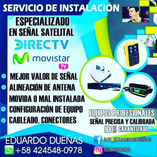 servicios de instalacion de  directv y movistar tv