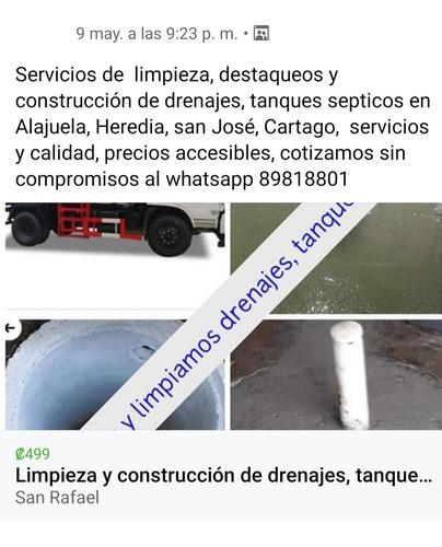 servicios de limpieza, destaqueos y construcción de drenaje
