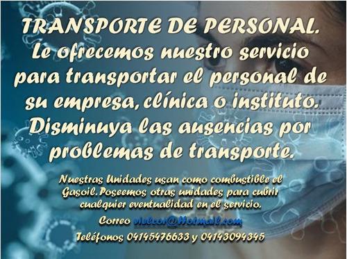 servicios de transporte de personal en cuarentena