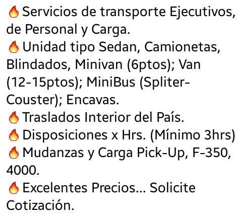 servicios de transporte ejecutivo, de personal y carga