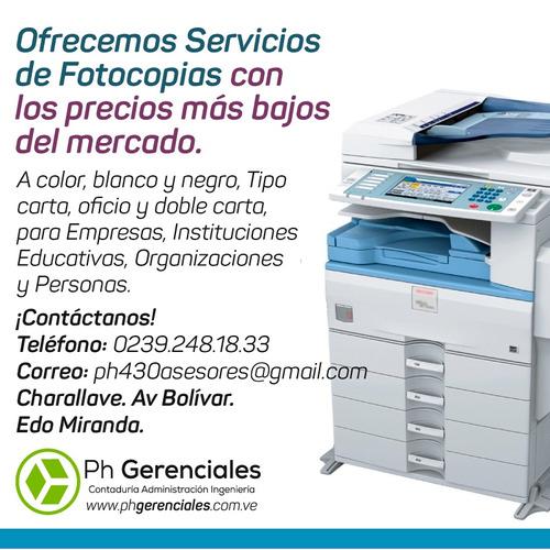 servicios fotocopias, contabilidad, administración y otros.