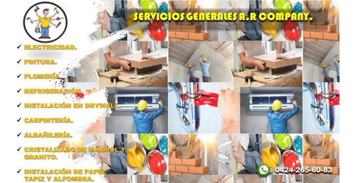 servicios generales de electricidad, pintura, plomería, etc.