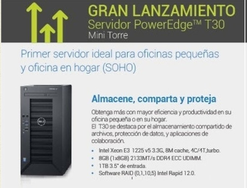 servidor dell poweredge t30, xeon, 8gb, 1tb, super oferta