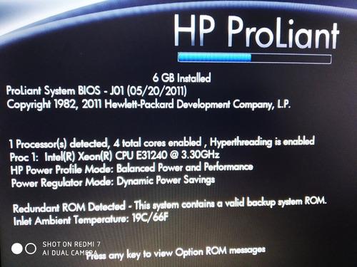 servidor hp dl 120 g7 hd 250 12gb memória ligado para testes