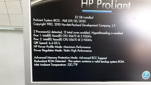 servidor hp proliant dl360 g7 2 processadores xeon x5650 sixcore 16g 2 sas 300 10k 12 x sem juros c/trilhos