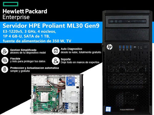 servidor hp proliant ml30 g9  e3-1220v5 3.0 ghz 8gb 1tb